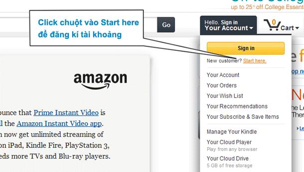 Bạn cần đăng ký tài khoản trước khi mua hàng trên Amazon